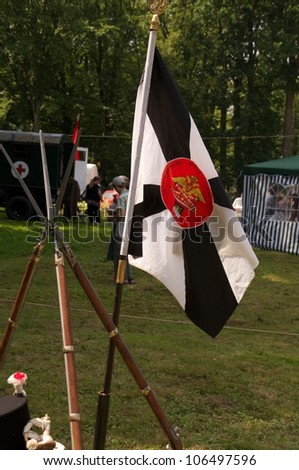 GURYEVSK, KALININGRADSKAYA OBLAST, RUSSIA - JUNE 30: club flag on celebration of 750 anniversary of Guryevsk (Neuhausen O.P.) on June 30, 2012 in Guryevsk, Kaliningradskaya oblast, Russia