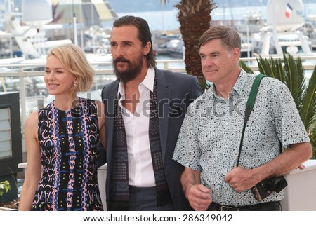 Gus Van Sant, Matthew McConaughey, Naomi Watts attend the The Sea of Trees photocall during the 68th annual Cannes Film Festival on May 16, 2015 in Cannes, France. - stock photo