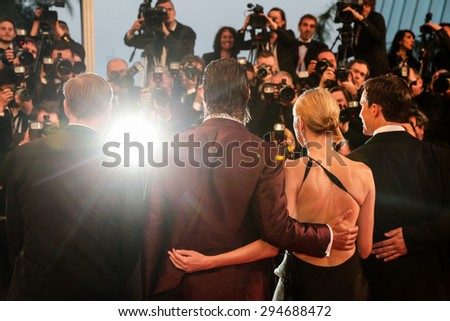 Gus Van Sant, Naomi Watts, Matthew McConaughey and Chris Sparling attend the Premiere of 'The Sea Of Trees' during the 68th annual Cannes Film Festival on May 16, 2015 in Cannes, France. - stock photo