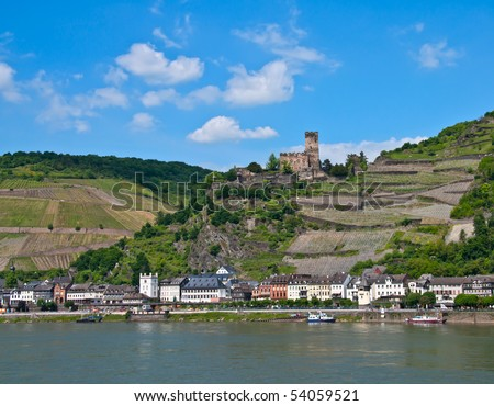 Gutenfels castle in famous rhine valley - stock photo