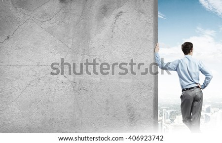 Guy and concrete empty banner
