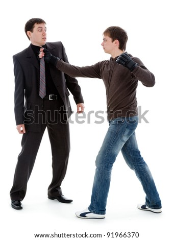 Guy beats and intimidates a man, isolated on a white background. - stock photo