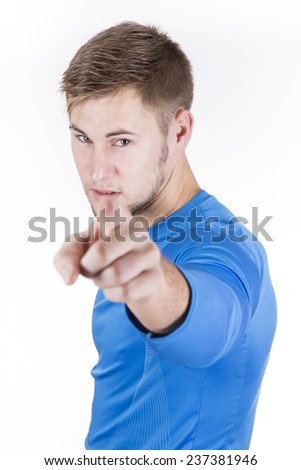guy expression offers studio shot - stock photo
