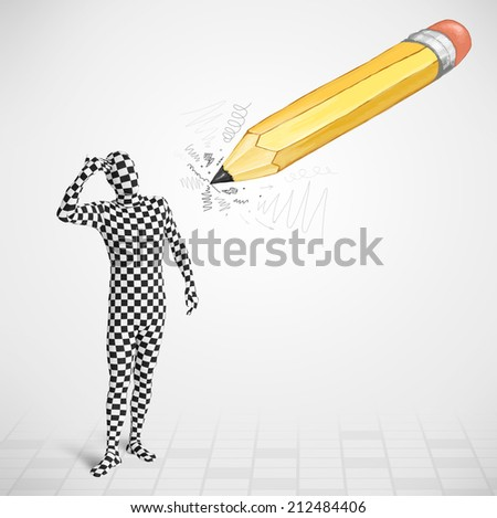 Guy in body mask with a big hand drawn pencil concept - stock photo