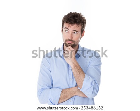guy in casual clothes looking for an idea for his business