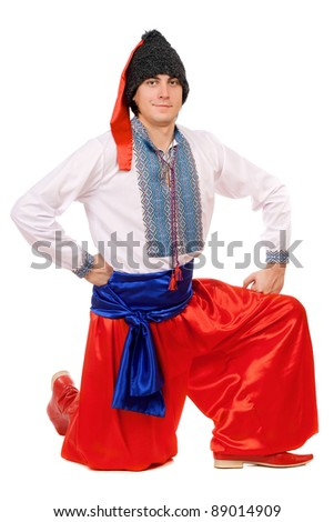 Guy in the Ukrainian national costume. Isolated on white - stock photo