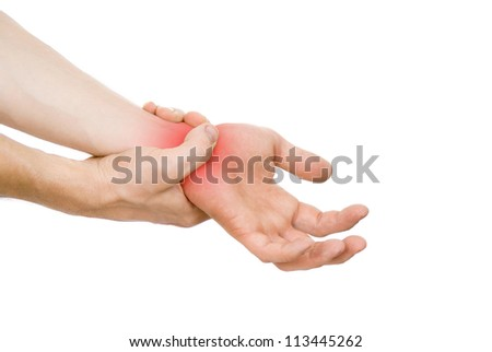 guy, my arm is hurting, wrist isolated on white background