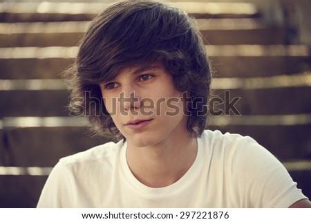 Guy, teenager portrait - stock photo