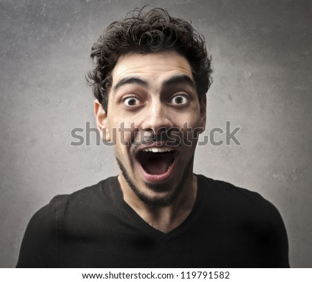 Guy very surprised by something - stock photo