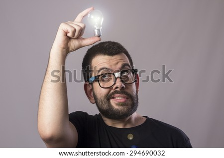 Guy with a bulb idea