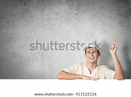 Guy with banner - stock photo