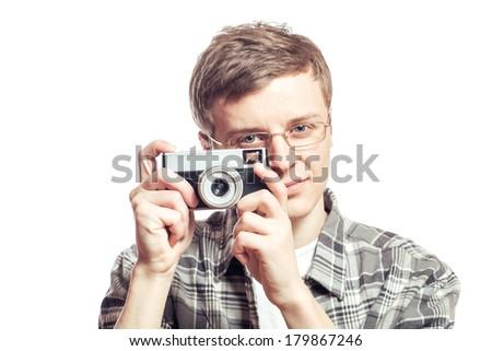guy with digital camera - stock photo