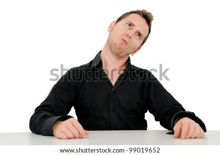 guy with funny expression - stock photo