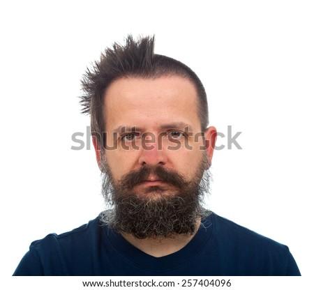 Guy with large beard funny haircut  - stock photo