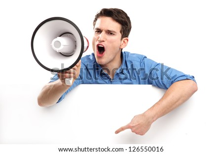 Guy with megaphone and white board - stock photo