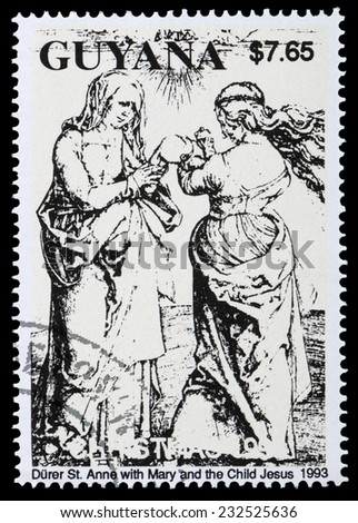 """GUYANA - CIRCA 1993: A stamp printed in Guyana shows Painting """"St. Anne with Mary and the Child Jesus"""" by Durer,  circa 1993 - stock photo"""