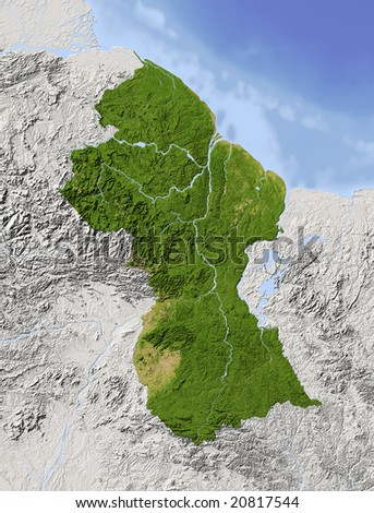 Guyana. Shaded relief map. Surrounding territory greyed out. Colored according to vegetation. Includes clip path for the state area. Data source: NASA