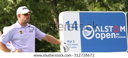 GUYANCOURT , FRANCE, JULY 03, 2015 : Lee Westwood ( eng  ) During the third round of the French Open, European golf tour, July 03, 2015 at The golf National, Guyancourt, France. - stock photo