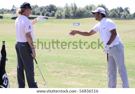 GUYANCOURT, FRANCE - JULY 3 : Pablo Larrazabal (right) and Jimenez (SPA) at The French Open, European Golf Tour, Paris, july 03, 2010, at the Golf National, Guyancourt, France.