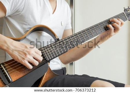 Guys Playing Acoustic Guitar Catch Cmaj9 Stock Photo Royalty Free