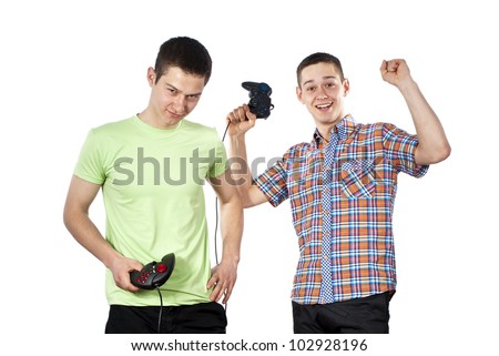 guys play games on the joysticks in isolated - stock photo