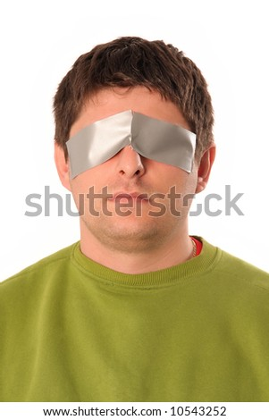 guys with adhesive tape on white background - stock photo