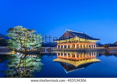 Gyeongbokgung Palace at night, Seoul, South Korea - stock photo
