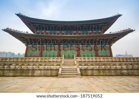 Gyeongbokgung Palace in Seoul ,South Korea  - stock photo