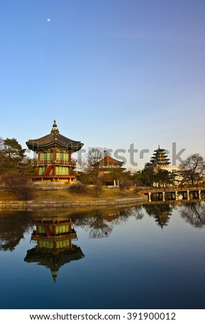 Gyeongbokgung Palace in Seoul, South Korea. Idyllic temple next to calm lake