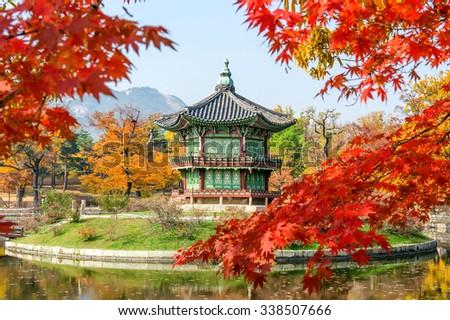 Gyeongbukgung and Maple tree in autumn in korea. - stock photo