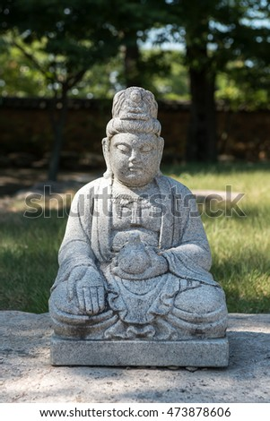 Gyeongju, South Korea - August 18, 2016: Statue of the Buddha in Bunhwangsa. Bunhwangsa is a temple built in the Silla Era.