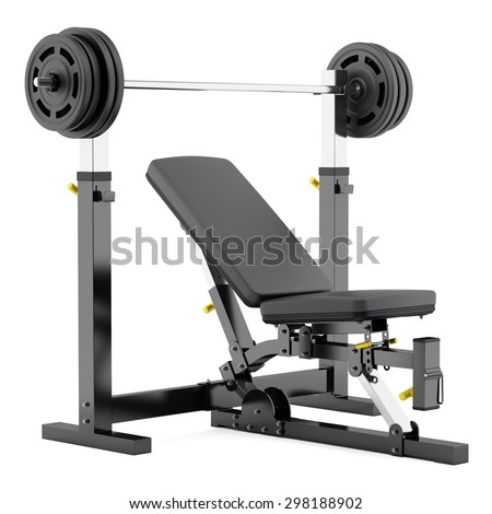 gym adjustable weight bench with barbell isolated on white background - stock photo