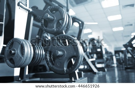 gym interior with equipment - stock photo