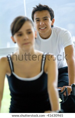 Gym people at a class - stock photo