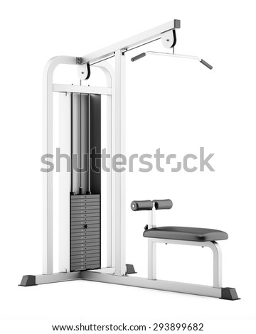 gym pull-down machine isolated on white background - stock photo