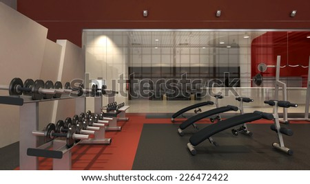 Gym room with sport equipment