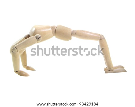 Gym wood puppet isolated over white background - stock photo