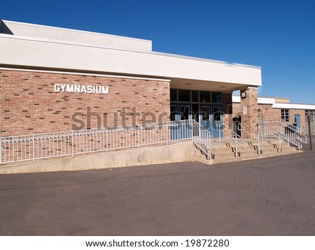 gymnasium entrance for an elementary school in New Jersey - stock photo