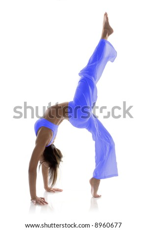 Gymnast girl in flexible back pose - stock photo