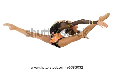 gymnast jumping in the splits - stock photo