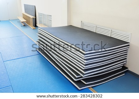 gymnastics mat in a sports hall