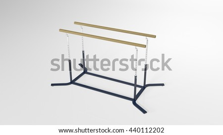 Gymnastics parallel bars, sports equipment isolated on white background, 3D illustration