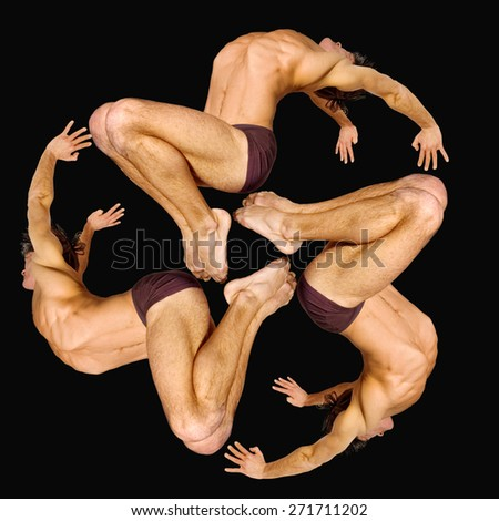 Gymnasts figures on a black background.Athletes.C?ircular motion.Ornament.Color image  - stock photo