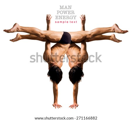Gymnasts figures on a white background.Athletes.Handstand.C?olor image . - stock photo