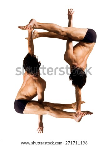 Gymnasts figures on a white background.Athletes.Handstand. C?olor image  - stock photo