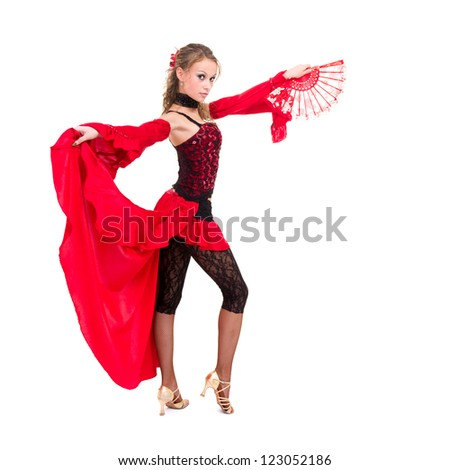 gypsy woman dancing with fan against isolated white background - stock photo