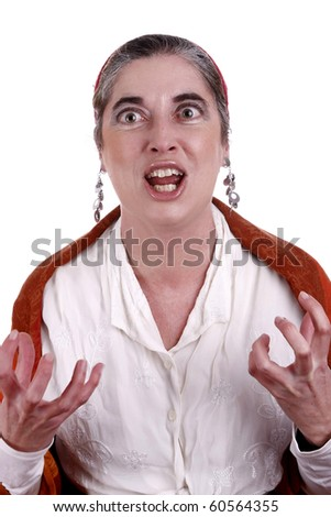 Gypsy woman with a funny expression. - stock photo
