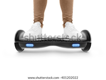 Gyro scooter drive. Two wheel transport device. Electriic hyroscooter driving. Person self balancing hoverboard. Driving giroscooter. Hyroscooter. Man stand on hover board. - stock photo