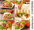 Gyros pita with fresh vegetables - stock photo