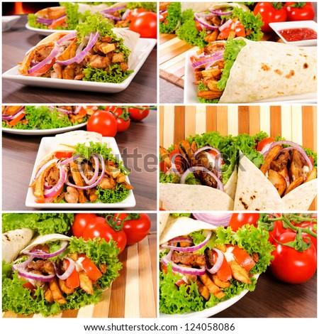 Gyros pita with fresh vegetables - stock photo